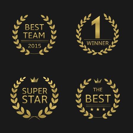 reconocimientos: Premios de oro coronas de laurel. mejor equipo ganador super estrella mejor Vectores