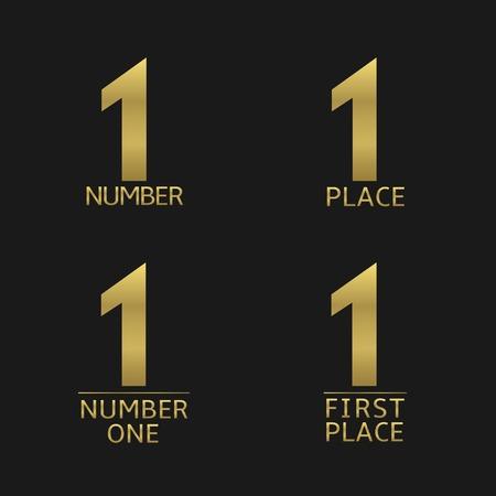 primer lugar: En primer lugar y el número uno de oro icono de conjunto. Premio, campeón, ganador símbolos Vectores