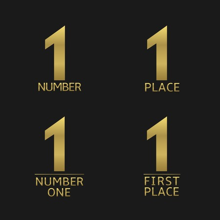 first place: First place and number one golden icon set. Award, champion, winner symbols Illustration