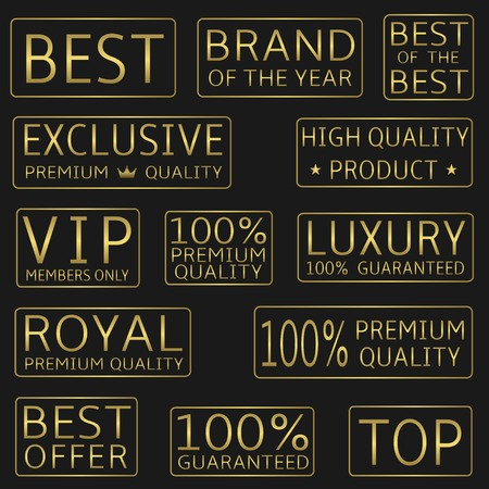 best quality: Golden label set.  Best, royal, VIP, top, premium quality, luxury, best offer icons