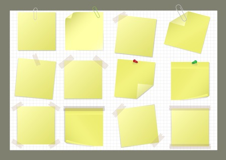 sticky tape: Yellow paper sticker set with pin, paper clip and sticky tape Illustration