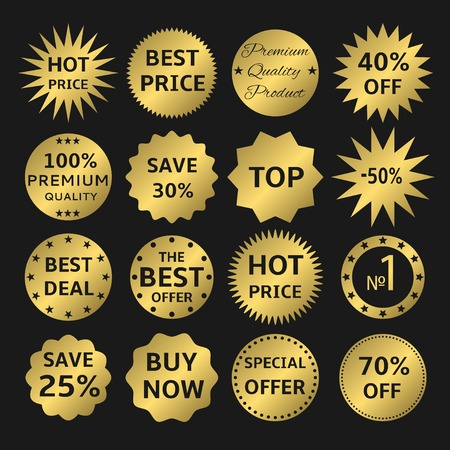 the best: Golden label set. Best, hot price, VIP, buy now, premium quality, best deal, best offer icons Illustration