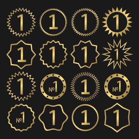 primer lugar: Número uno, el primer lugar, logotipo de oro, símbolo de premio. Campeón, ganador y signo de liderazgo.