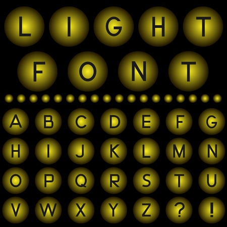 retro font: Yellow light balls with alphabet letters. Vector illustration Illustration
