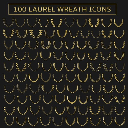 100 vector golden laurel wreath icons. Victory, champions, winner concept