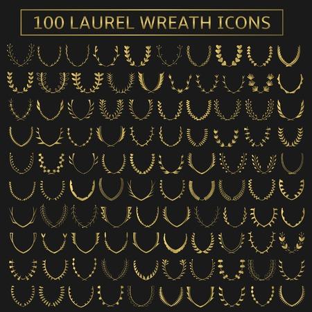 100 vector golden laurel wreath icons. Victory, champions, winner concept