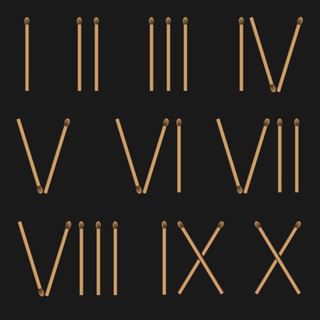 roman numerals: Creative Roman numerals from matches on black background. Vector illustration Illustration
