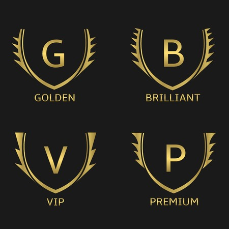 splendour: Golden business logo set. Golden Vip Premium Brilliant
