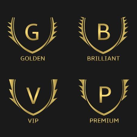 resplendence: Golden business logo set. Golden Vip Premium Brilliant