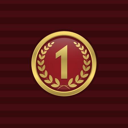 first place: En primer lugar y el número uno del icono de oro. Premio, campeón, símbolo ganador