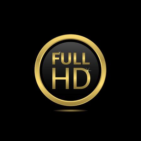 full hd: Golden Full HD icon on the black background. Vector illustration