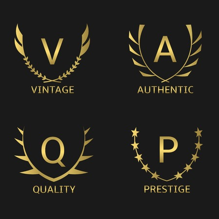 presti: Golden business logo set. Vintage Quality Prestige Authentic