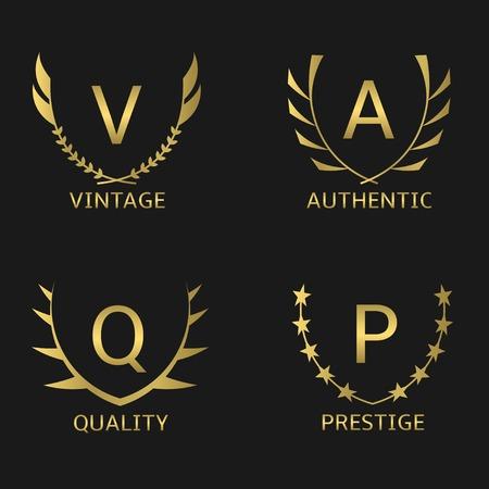 Golden business logo set. Vintage Quality Prestige Authentic