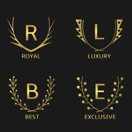 resplendence: Golden business logo set. Royal Luxury Best Exclusive