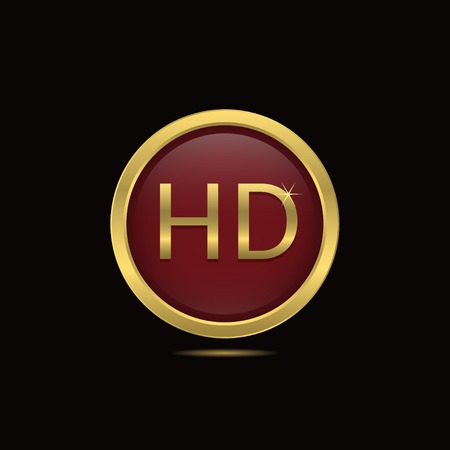 full hd: Red technology HD icon with golden frame. Vector illustration