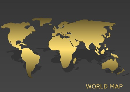 Abstract Golden World map on the grey background. Vector illustration