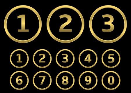 golden years: Golden numbers with golden frame. Vector illustration Illustration
