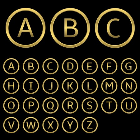 Golden letters with golden round frames. English alphabet, vector illustration Иллюстрация