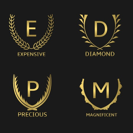 recompense: Golden award symbol set with capital letters and wreath laurels
