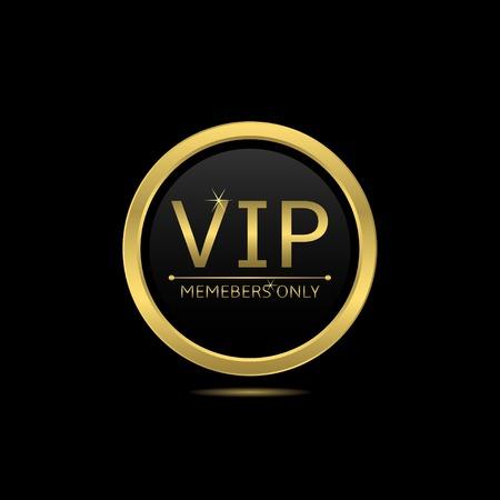 Golden ronde pictogram. Alleen VIP leden, vector illustratie