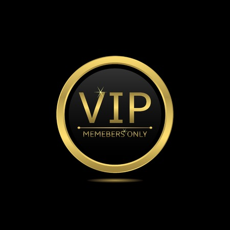 Golden round icon. Vip members only, vector illustration