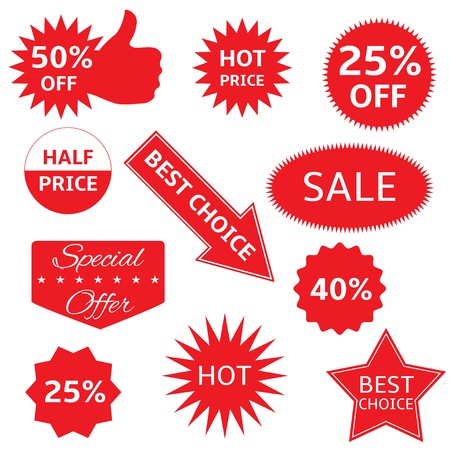 Red shopping labels for e-shop. Hot price, best choice, half price, special offer, sale icon set