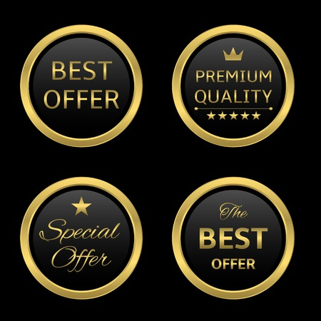victor: Golden round award label set: best offer, premium quality, special offer, best offer Illustration