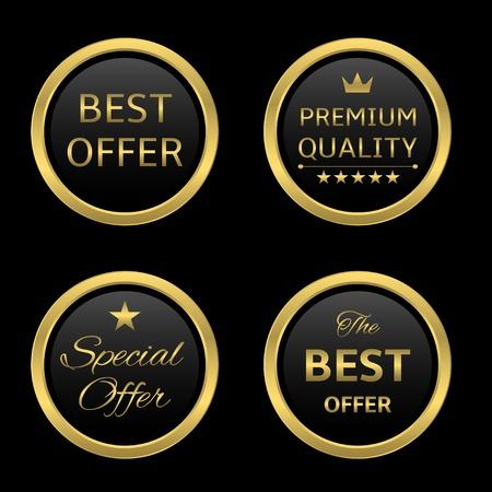 recompense: Golden round award label set: best offer, premium quality, special offer, best offer Illustration