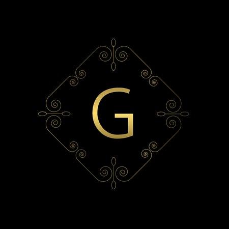 ornament frame: Business logo for Cafe, Shop, Restaurant, Company, Fashion, Hotel. Golden emblem with flourishes calligraphic ornament frame