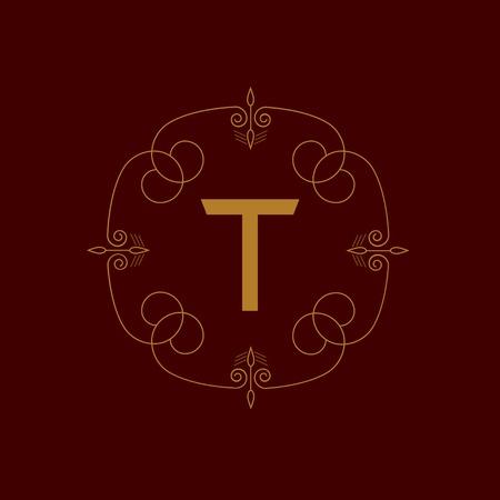 crimp: Business logo for Cafe, Shop, Restaurant, Company, Fashion, Hotel. Orange emblem with flourishes calligraphic ornament frame on the red background