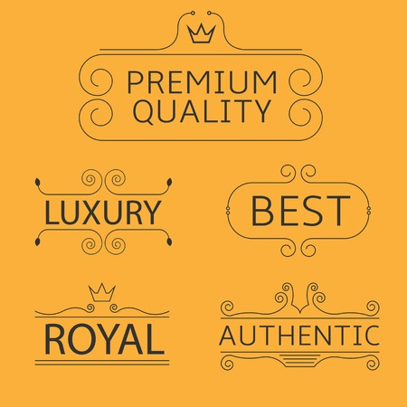 royal quality: Business logo set for Cafe, Shop, Restaurant, Company, Fashion, Hotel. Luxury, Best, Royal, Authentic, Premium Quality labels with flourishes calligraphic ornament frame on the orange background Illustration