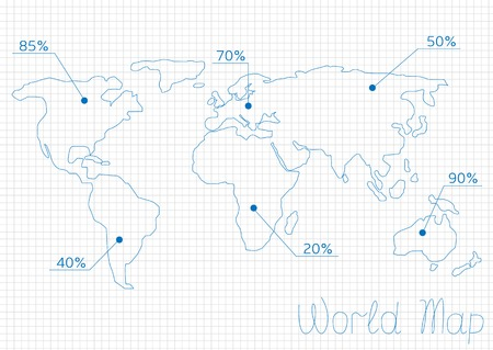temperate: Infographic World map with statistics numeral symbols. Trade, labour, population or unemployment statistics