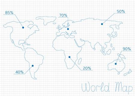 unemployment: Mapa del mundo Infograf�a con estad�sticas s�mbolos num�ricos. Comercio, el trabajo, la poblaci�n o de las estad�sticas de desempleo