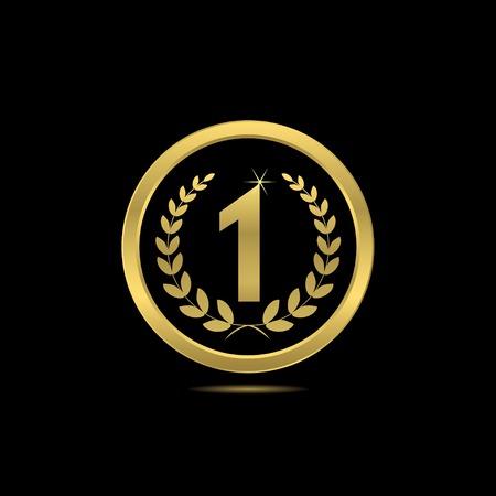 En primer lugar premio de oro con corona de laurel para la presentación ceremonia del deporte o negocio la competencia Ilustración de vector