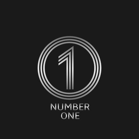 primer lugar: Número uno icono. Plata primer símbolo concesión del lugar para la ceremonia de presentación Vectores