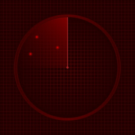 localization: Red radar screen, technology concept. Vector illustration