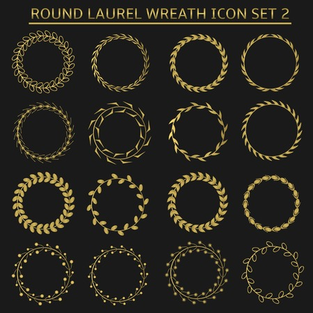 coronation: Golden round laurel wreath icon set for presentation ceremony, sport or business award