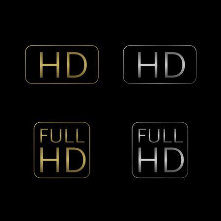 HD en Full HD-icon set. Gouden en zilveren technologie symbolen.