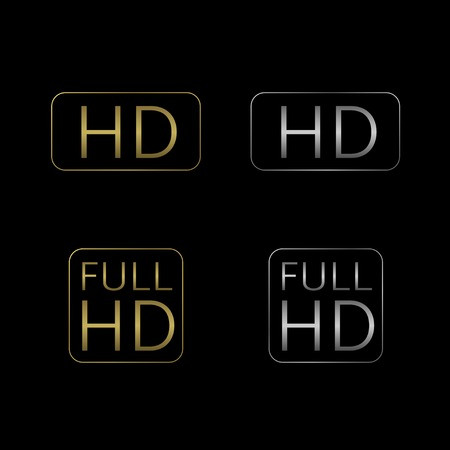 HD and Full HD icon set. Golden and silver technology symbols.