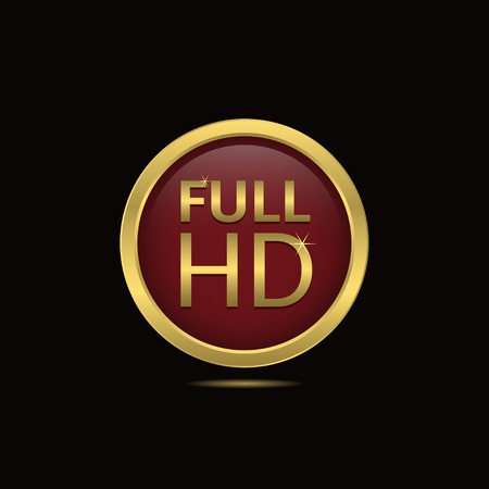 full hd: Full HD icon with golden frame, technology concept