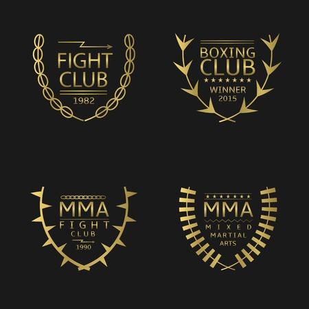 artes marciales mixtas: Club de lucha de oro emblema. Artes marciales mixtas. Ilustración vectorial