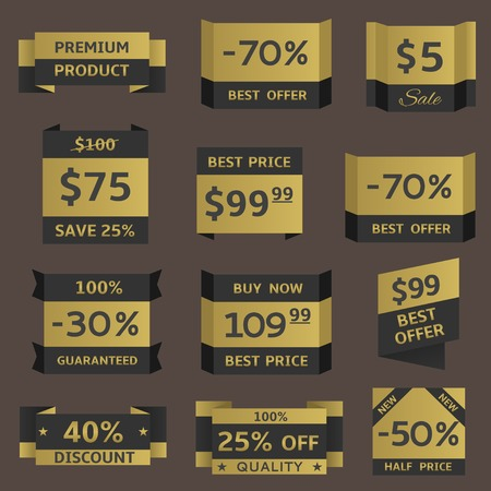 Golden shopping prices. Premium quality, best offer, best price, half price label set Иллюстрация
