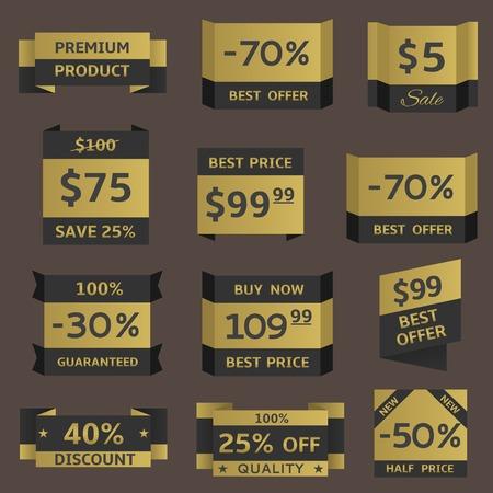 Golden shopping prices. Premium quality, best offer, best price, half price label set Illustration