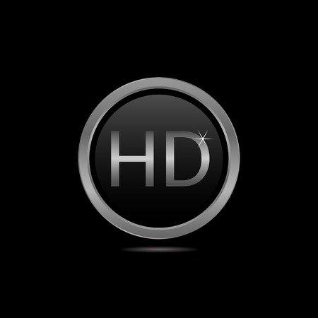 full hd: Glass HD icon with silver frame, technology concept Illustration