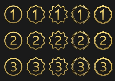 second: Golden award set. First, second and third icons Illustration