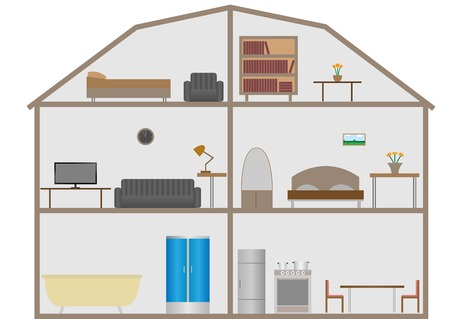 옥내의: Indoor House Design. Furniture set, Vector illustration