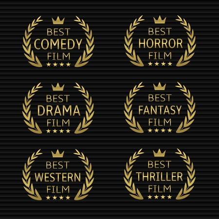 Beste film award icon set. Golden lauwerkransen