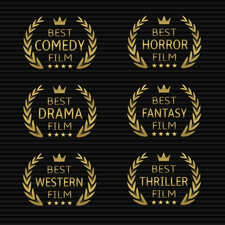 Best film award icon set. Golden laurel wreaths