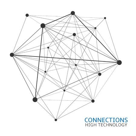 abstrakte muster: Abstrakte chaotische Netzwerk-Verbindungen, Hochtechnologie, Internet, Nanotechnologie-Konzept