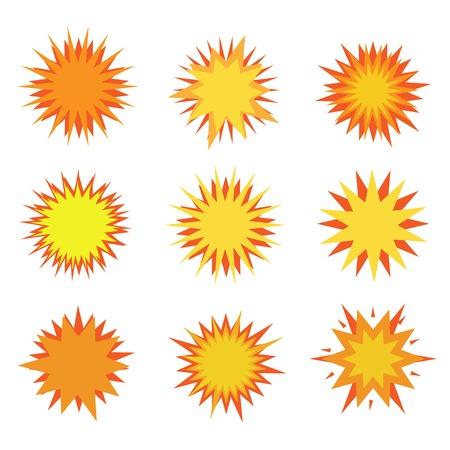 Humor Explosion icon set. Bursting and fire symbols